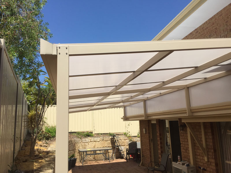 Raised Flat Patio With Multiwall Roof Sheets